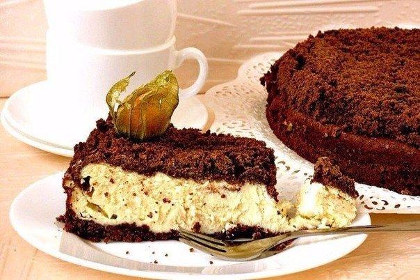 Творожный шоколадный пирог с