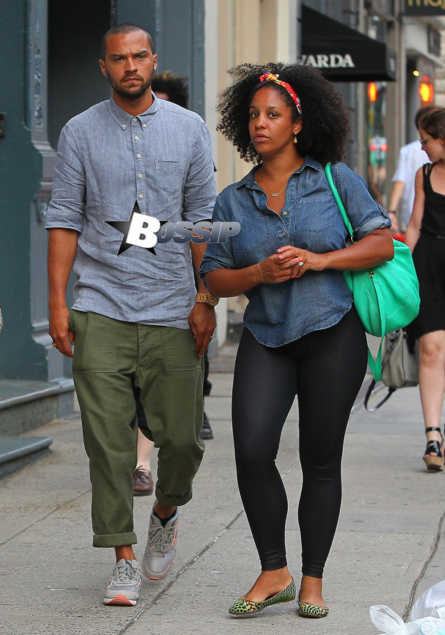 Jesse Williams and wife Aryn Drake-Lee spend the day shopping in NYC. The cute couple were spotted shopping in NYC's SoHo neighborhood on Sunday evening. Pictured: Jesse Williams and Aryn Drake-Lee Ref: SPL554764 020613 Picture by: Tom Meinelt / Splash News Splash News and Pictures Los Angeles:310-821-2666 New York:212-619-2666 London:870-934-2666 photodesk@splashnews.com