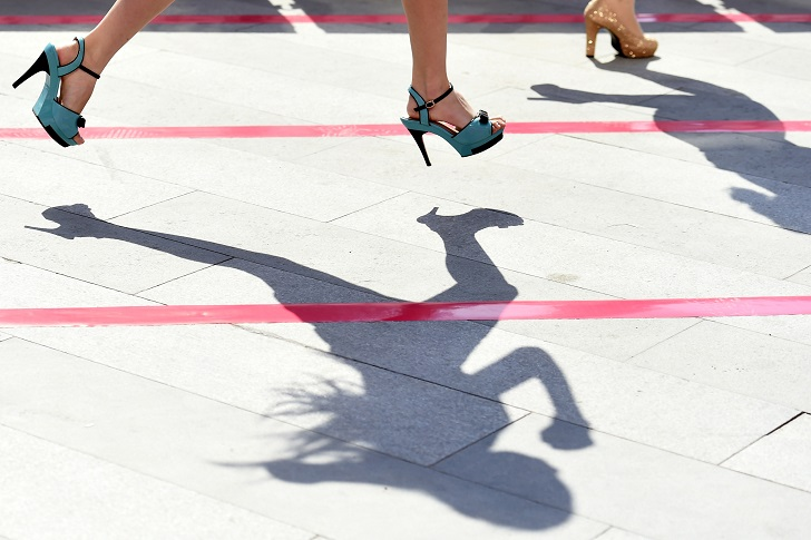 TAIYUAN, July 4, 2015 Participants run during a ''High Heels Race'' in Taiyuan, capital of north China's Shanxi Province, July 3, 2015. Participants had to run 50 meters in 10-centimeter high heels in the race. (Credit Image: ZUMAPRESS.com/Global Look Press)