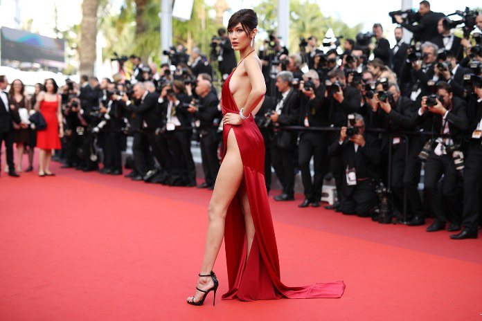 "CANNES, FRANCE - MAY 18:  Model Bella Hadid attends ""The Unknown Girl (La Fille Inconnue)"" Premiere duirng the annual 69th Cannes Film Festival at Palais des Festivals on May 18, 2016 in Cannes, France.  (Photo by Andreas Rentz/Getty Images)"