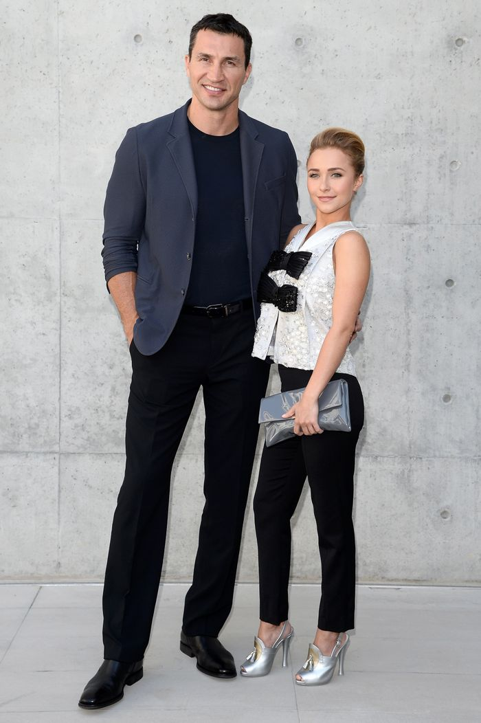 FILE  OCTOBER 09:  Hayden Panettiere has confirmed October 9, 2013 that she is engaged to boxer Wladimir Klitschko. MILAN, ITALY - JUNE 25:  Wladimir Klitschko and Hayden Panettiere attend the Giorgio Armani show during Milan Menswear Fashion Week Spring Summer 2014 on June 25, 2013 in Milan, Italy.  (Photo by Venturelli/WireImage) ORG XMIT: 171655358 ORIG FILE ID: 171470938