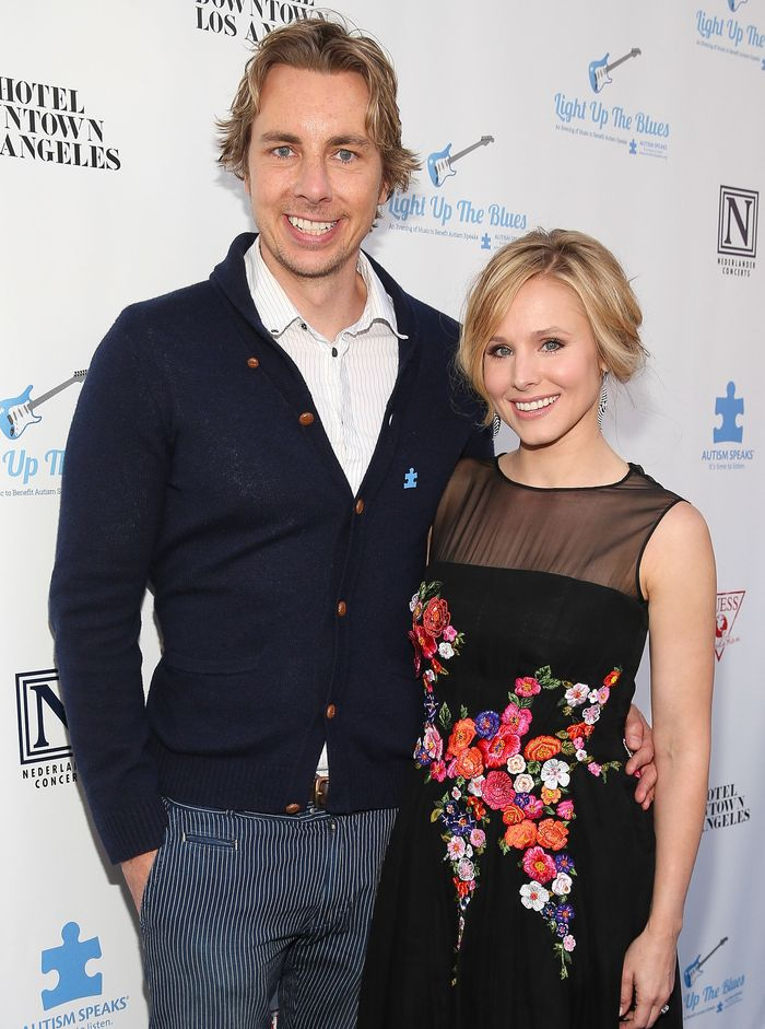 LOS ANGELES, CA - APRIL 05:  Actor Dax Shepard (L) and actress Kristen Bell attend the 2nd Light Up The Blues Concert - An Evening Of Music To Benefit Autism Speaks at The Theatre At Ace Hotel on April 5, 2014 in Los Angeles, California.  (Photo by Imeh Akpanudosen/Getty Images for LUTB)