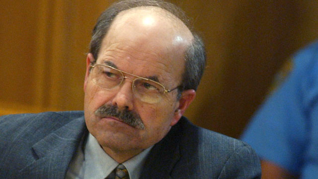 WICHITA, KS - AUGUST 17:  Confessed serial killer Dennis Rader, known as BTK, listens to testimony in the sentening phase of his trial in Sedgwick County Court August 17, 2005 in Wichita, Kansas. Rader, of Park City, Kansas, has pleaded guilty to 10 counts of murder for killings which spanned three decades.  (Photo by Bo Rader-Pool/Getty Images)