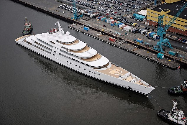 "The world's largest superyacht Azzam is launched in Germany, April 5 2013. See SWNS story SWYACHT; The world's largest superyacht was launched with the £400 million vessel measuring a staggering 590 FEET. Azzam has been described as the ""most complex and challenging yacht which has ever been built"". The  incredible yacht is around 54ft (17.5m) longer than the Eclipse, which is Chelsea-owning oligarch Abramovich's current flagship vessel. It is thought to have been built for a very wealthy Saudi Arabian"